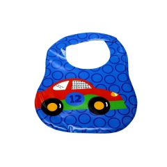 New Cartoon Pattern Silicone Waterproof Baby Bibs Convenience Health Bib blue one size