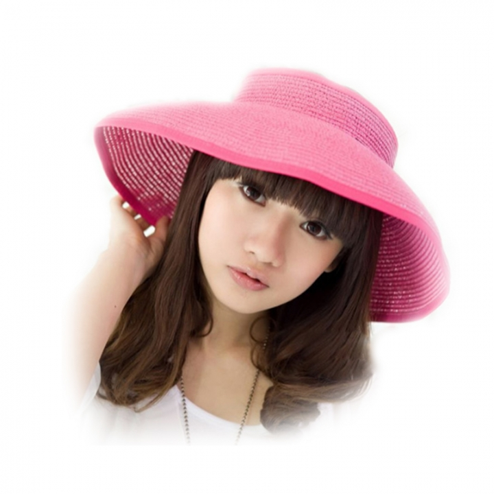 kids--Summer Foldable Crocheted Straw Hat Girls Beach Parent-child Sun Hats pink child