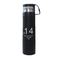 350ml/500ml Simple Number Vacuum BottleTravel Mug Thermos Flask With Lid Black 500ml