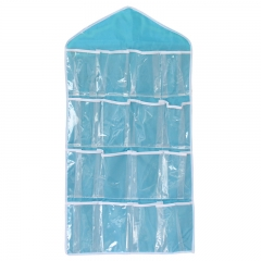 16 Pockets Transparent PVC Pouch Closet Wardrobe Rack Hangers Holder Blue