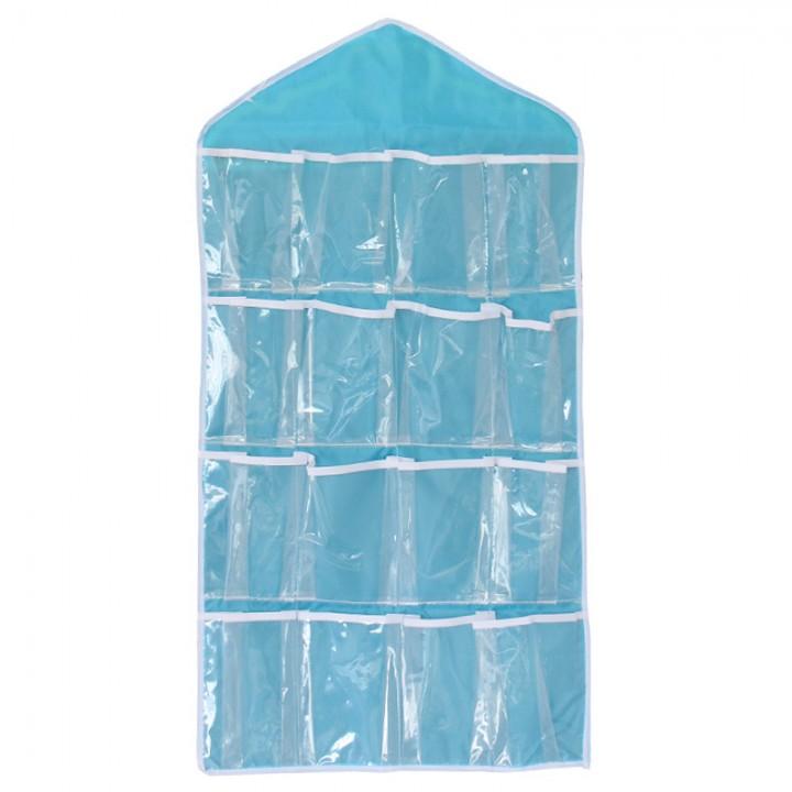16 Pockets Transparent PVC Pouch Closet Wardrobe Rack Hangers Holder Blue