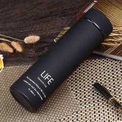 500ml Concise Style Letter Water Bottle Vacuum Cup Flask Black 500ml