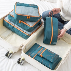 7 Pcs/Set Multi-functional Travel Storage Bag Pouch Clothes Suitcase Army-green