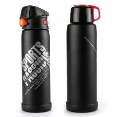 800ml Large Capacity  Stainless Steel Vacuum Cup Thermos Cup Water Bottle Black 800ml