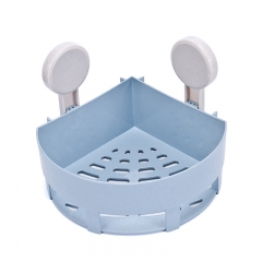 Powerful Suction Cup Wall-hang Triangular Bathroom Shelf blue 19.5x7.5 cm