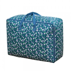 Cotton Quilt Was Received Folding Ring Quilt Storage Bag L-blue