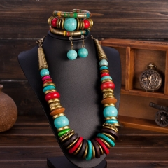 African Beads Jewelry Set with Turquoise Collar Statement Necklace, Ball Drop Earings & Bracele multi-colored standard size
