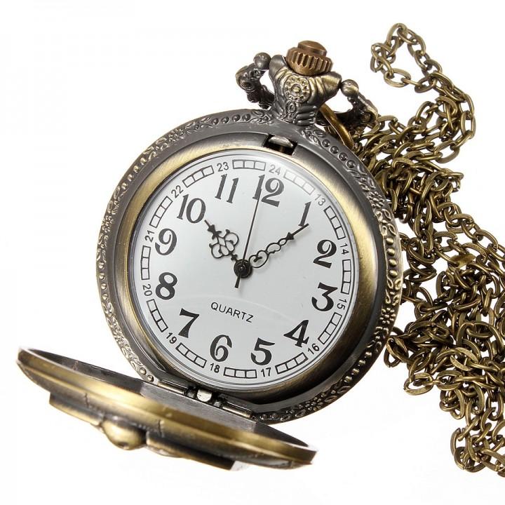 Men's Quartz Movement Antique Locket Design Pocket Watch - Bronze