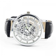 Mens Skeleton Watch Black one size