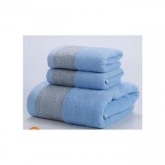 Bath cotton Towel Set - 3 Pieces blue large