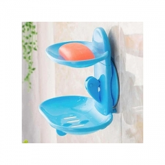 2 layer Wall mount soap dish-white blue small