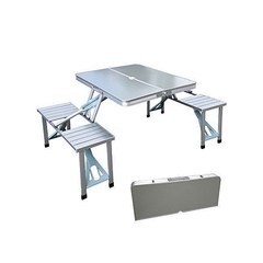 Foldable Table for Picnic and Camping silver medium