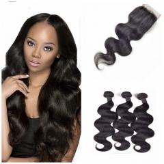 8A Brazilian virgin hair 100%human hair weave body wave (100g/pc) 3pcs+1pc lace closure 4x4 nature black 26 28 30+20 inch