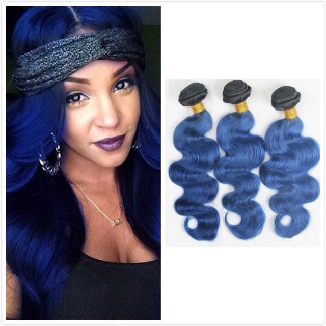 Kilimall 7a Brazilian Virgin Hair 100human Hair Weave 1b Blue Body