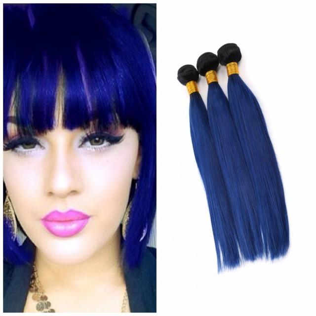 Kilimall 8a Brazilian Virgin Hair 100human Hair Weave 1b Blue