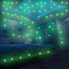 Valentines Gift 100Pcs/Bag Stars Decal Glow Fluorescent 3D Wall Stickers Home Decor green one size