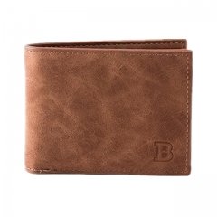 Valentines Gift Men's Short Paragraph Wallet Business Casual Leather PU Wallet brown one size
