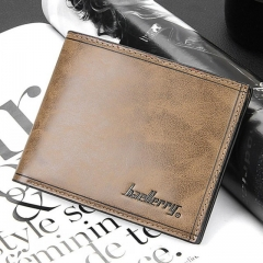 Men's Short Paragraph Wallet Business Casual Leather PU Wallet brown one size