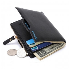 Men's Short Paragraph Wallet Business Casual Leather PU Wallet black one size