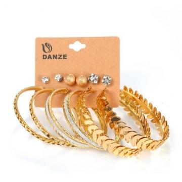 6 Pairs/Set Earring Women's Fashion Accessories Earring Rhinestone Earring gold one size