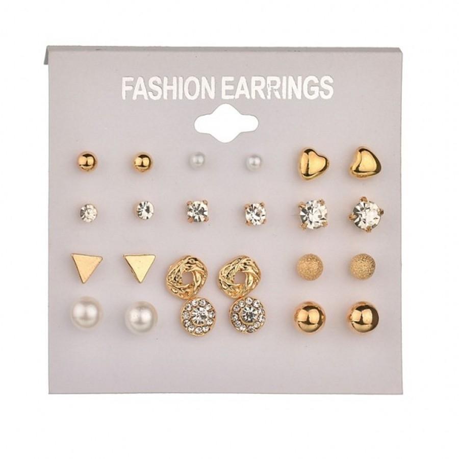 12 Pairs/Set Earring Jewelry Women Fashion Accessories Rhinestone & Pearl Earring Jewellery gold&white one size 14