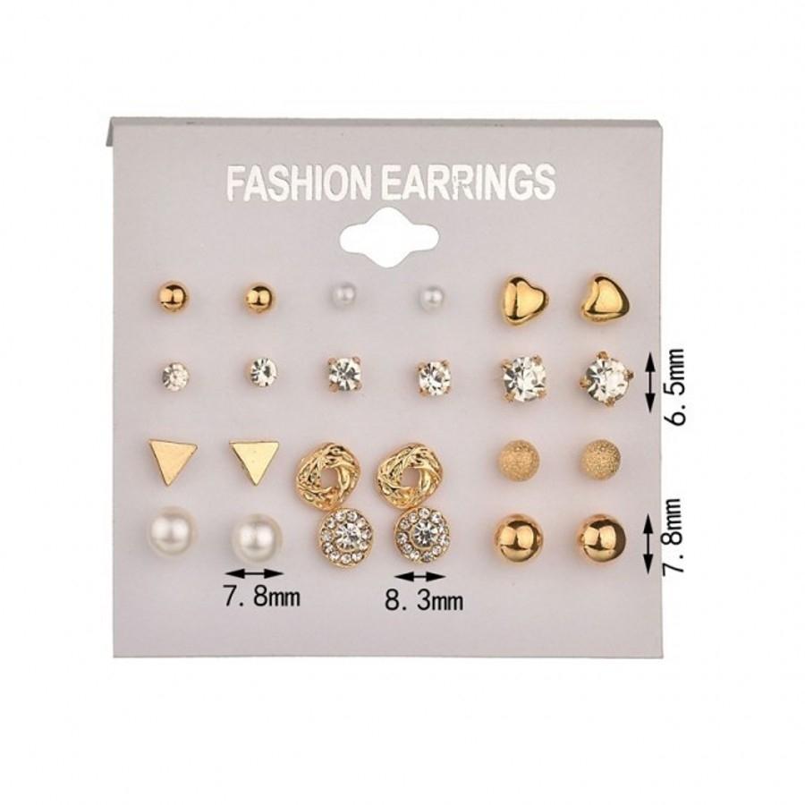12 Pairs/Set Earring Jewelry Women Fashion Accessories Rhinestone & Pearl Earring Jewellery gold&white one size 15