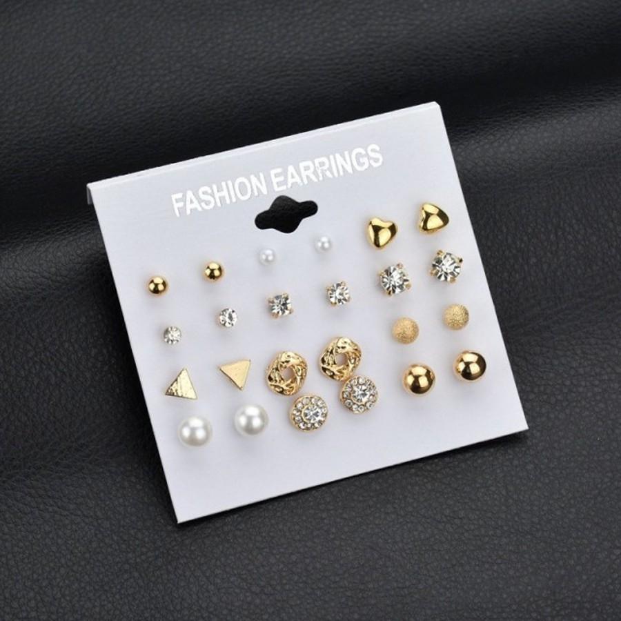 12 Pairs/Set Earring Jewelry Women Fashion Accessories Rhinestone & Pearl Earring Jewellery gold&white one size 16