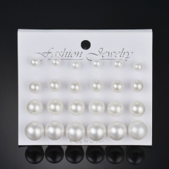 12 Pairs/Set Earring Women's Fashion Accessories Pearl Earring white one size