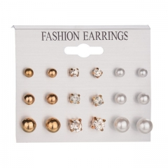 9 Pairs/Set Earring Women's Fashion Accessories Rhinestone & Pearl Earring gold&white one size