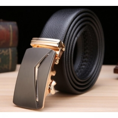 Men's Business Leather Belt Fashion Buckle Genuine Cowhide Leather Belt black one size