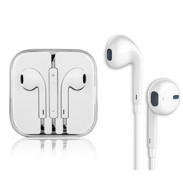 In-Ear Headphone Earphones Earpods with Volume Control For Mobile white