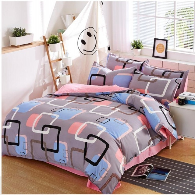 New Fashion Bedding Set 4pcs Duvet Cover、Pillowcases And Flat Sheet grey 5*6(1.5m)