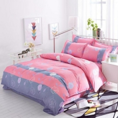 New Fashion Bedding Set 4pcs Duvet Cover(No Duvet) Pillowcases And Flat Sheet pink 5*6(1.5m)