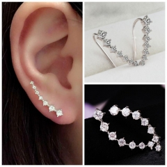 Valentines Gift New Fashion Jewellery Women Rhinestone Earring Women's Accessories Stud Earrings silver one size