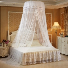 Round Lace Mosquito Net Dome Bed Net Canopy Bed Net white one size