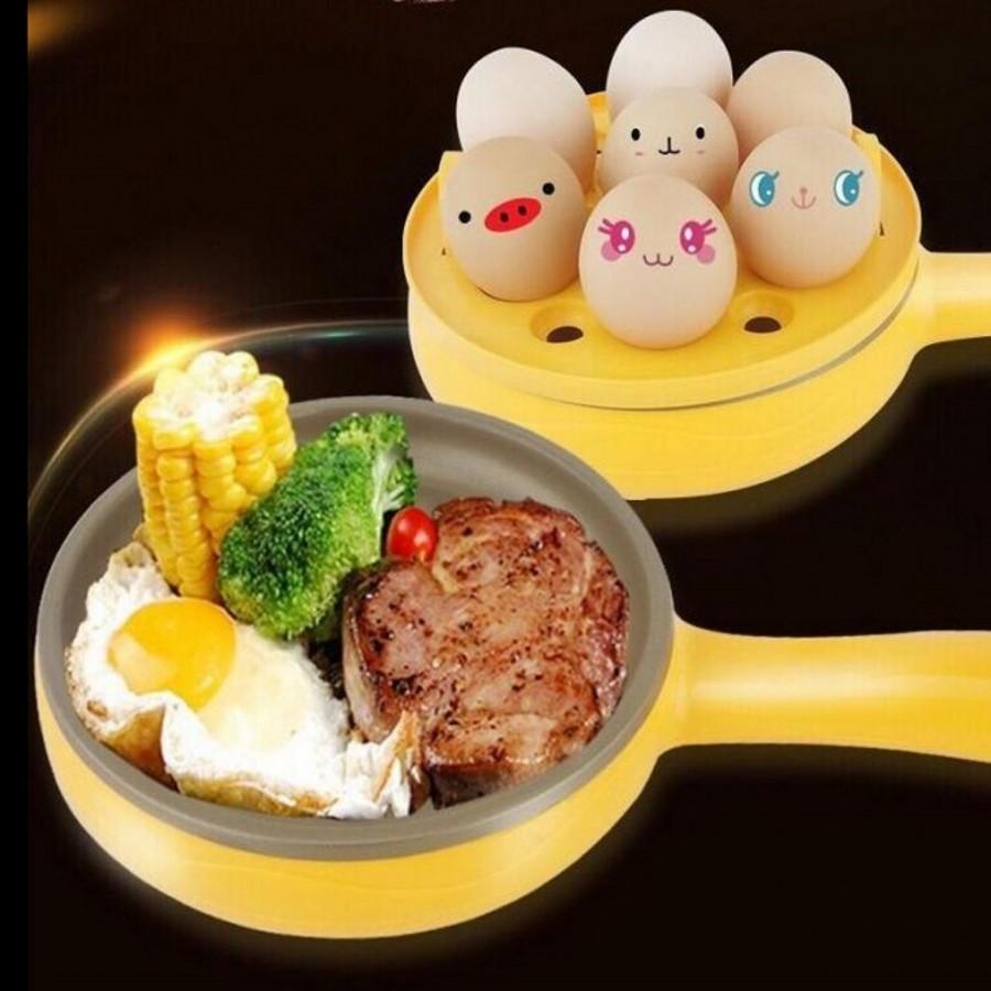 2Pcs/Set Magic Frying Pan Egg Steamer&Pan For Kitchen yellow 24