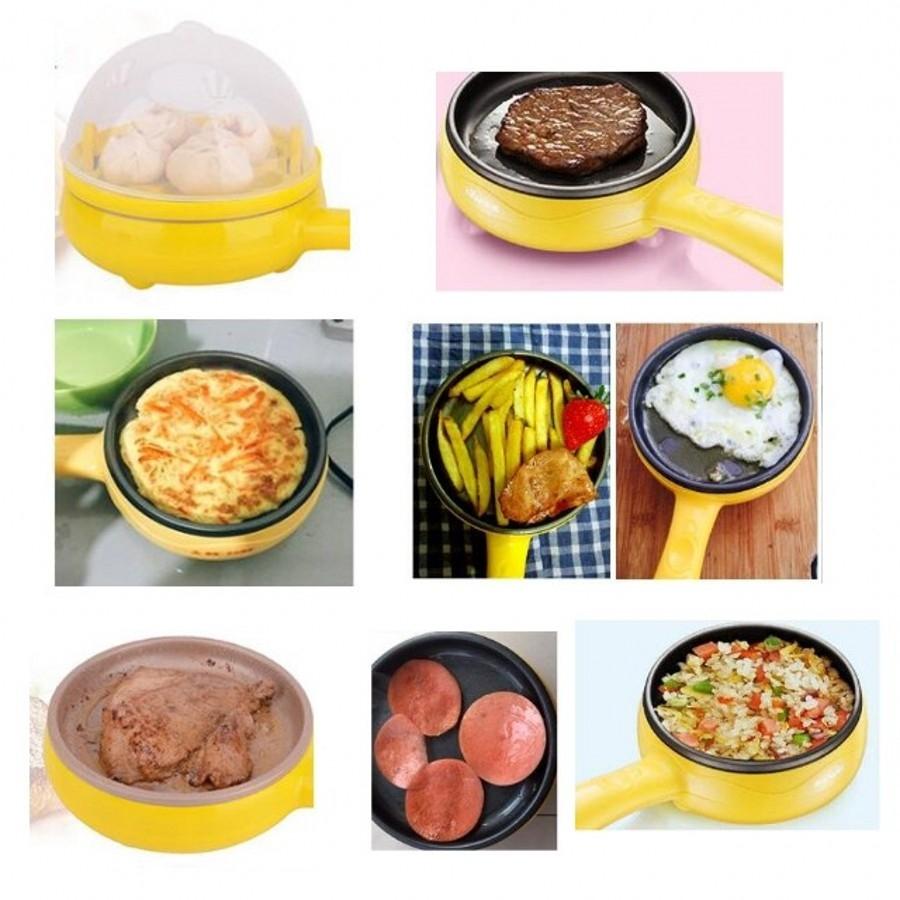 2Pcs/Set Magic Frying Pan Egg Steamer&Pan For Kitchen yellow 25