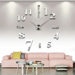 Creative DIY 3D Wall Clock Big Mirror Wall Clock Free Size Living Room Fashion Wall Clock silver one size