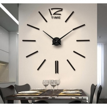 Creative DIY 3D Wall Clock Big Wall Clock Free Size Living Room Fashion Wall Clock black one size