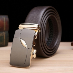 Men's Business Leather Belt Fashion Buckle Genuine Cowhide Leather Belt brown one size