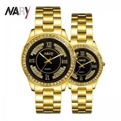 2Pcs/Set Couple Watches Men's And Women's Watches Waterproof Quartz Watch Luminous Watches gold one size