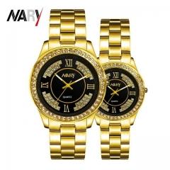 2Pcs/Set Couple Watches Men's And Women's Watches Waterproof Quartz Watch Luminous Watches gold one size