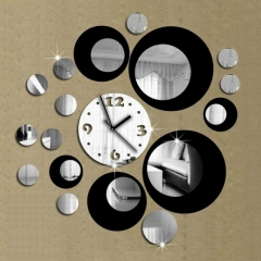 Creative DIY 3D Artistic Wall Clock Living Room Fashion Wall Clock black&silver one size