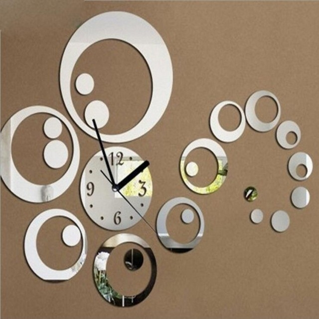 Creative DIY 3D Artistic Wall Clock  Living Room Fashion Wall Clock silver one size