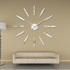 Creative DIY 3D Wall Clock Big Wall Clock Free Size Living Room Fashion Wall Clock silver one size