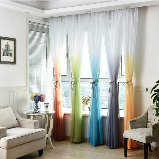 Gradient Color Curtain Windows Curtain For Living Room Fabric Curtain Breathable Anti-Mosquito green 100cm x 270cm