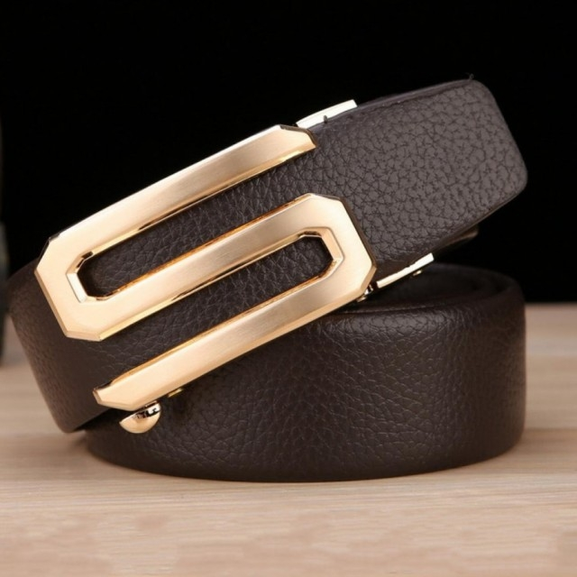 Men Business Leather Belt New Fashion Buckle Cowhide Leather Belt Men Fashion Accessories brown one size