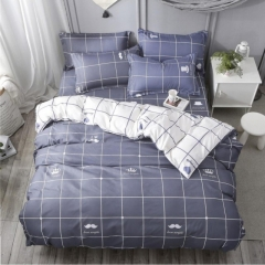 New Fashion Bedding Set 4pcs Duvet Cover(No Duvet) Pillowcases And Flat Sheet Home Bedroom navy blue 5*6