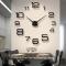 Creative DIY 3D Wall Clock Big Wall Clock Free Size Living Room Fashion Wall Clock black one size
