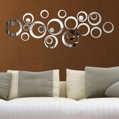 Creative DIY 3D Wall Stickers Mirror Surface New Fashion Wall Art Home Décor black one size